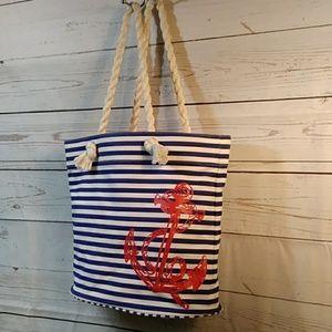 Blue & White Navy Stripe Beach Bag w/ Rope Handles